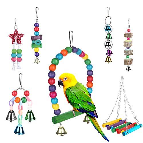 Zacro 7 Stück Bunten Vogelspielzeug, Vögel Spielzeug Vogel Papagei Schaukel Spielzeug mit Pfingstrose, Sakura, Myna, Goldene Sonne, Elster und Mittlere Haustiere