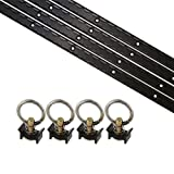 US Cargo Control Black Powder Coated Aluminum L Track Tie Down System - 8 Piece Powersports Kit Includes 4 Foot L Track and Single Stud Fittings