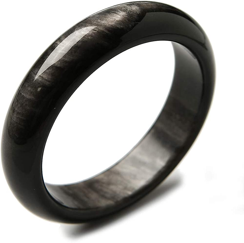 Muko Gemstone Super-cheap 62mm Natural Indefinitely Silver Flash Obsidian W Round Crystal