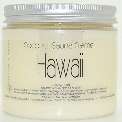 HAWAII 200ml Coconut Sauna Creme-Saunacreme-Pflegecreme-Pflege Creme-Saunapflege-Kokosöl-Kokos Öl- Coconut Oil-Frangipaniduft