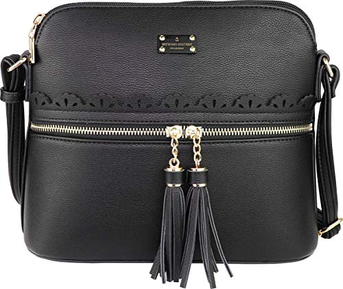 B BRENTANO Vegan Lightweight Crossbody Bag with Tassel Accents Medium (Black)