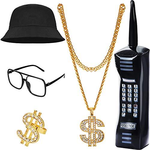 5 Stück 80er Jahre 90er Jahre Hip Hop Kostüm Kit Cool Rapper Outfit Zubehör, einschließlich aufblasbares Handy, Bucket Hat, Dollarzeichen Halskette und Ring, quadratische Brille