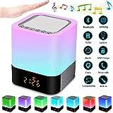 Luz Nocturna Altavoz Bluetooth, Frontoppy Lámpara Táctil Que Cambia de Color, Luz de Noche RGB Regulable, Reloj Despertador Digital, Regalo para Adolescentes…