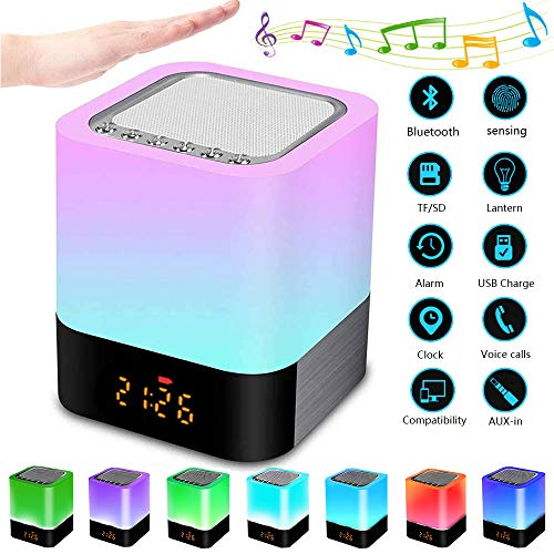 Luz Nocturna Altavoz Bluetooth, Frontoppy Lampara Tactil Que Cambia de Color, Luz de Noche RGB Regulable, Reloj Despertador Digital, Regalo para Adolescentes