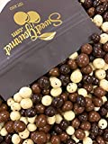 SweetGourmet Chocolate Covered Espresso Beans Blend | White Milk Dark Chocolate | 1 Pound