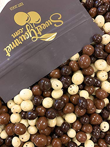 SweetGourmet Chocolate Covered Espresso Beans Blend | White Milk Dark Chocolate | 1 Pound