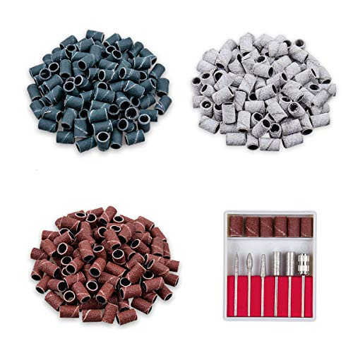 Professional Electric Nail Drill Bits 3/32 Inch and 300 Pcs Sanding Bands, Size #80#120#180 Efile Sanding for Manicures and Pedicures