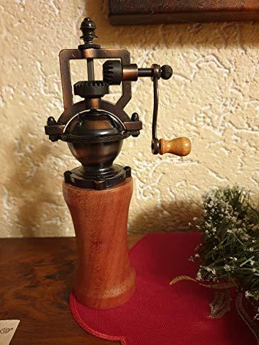 Gewürzmühle aus Holz handmade Pfeffermühle Vintage Einstellbares Mahlwerk Handgedrechselt Unikat aus Mahagoni/Meranti