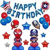 Kit de Decoraciones de Cumpleaños de Superhéroes,Juego de Decoraciones para Fiestas de Cumpleaños para Niños,Globos de Superhéroe para Fiestas Temáticas,Suministros de Fiesta Temáticos de Superhéroes