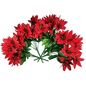 Artificial Poinsettia Bouquet; 7 Stems Each , 28 Fake Poinsettias Flowers, W/Glitter (Pack of 4 Bouquets)