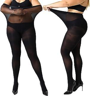 MANZI Women's 2 Pairs Plus Size Control Top Ultra-Soft Tights