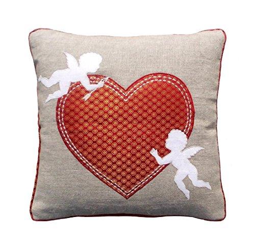 Valentine Taie d'oreiller, Motif cœur, en Lin avec Brocade Combinaison, Motifs de Cupidon