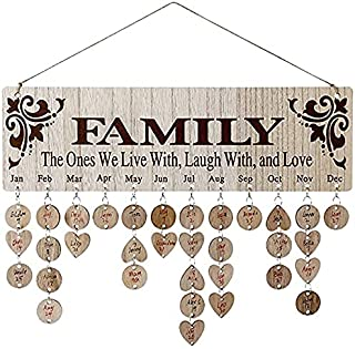 Gifts for Mom/Grandma/Dad from Daughter/Son - DIY Wooden Family Birthday Reminder Calendar Wall Hanging (JL01), with 100 T...