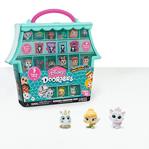 Just Play Disney Doorables Ultimate Collector Case, Includes 3 Exclusive Figures and 4 Mystery Figures from Series 5, Amazon Exclusive