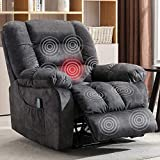 ANJ HOME Manual Massage Recliner Chair with Heat and Vibration, Lounge Chair with Thickness Armrest and Backrest (Gray)