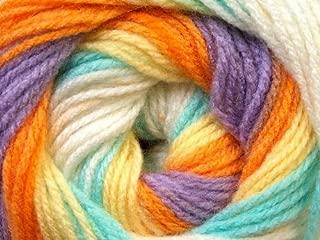 (1) 100 Gram Baby Batik - Yellow, Orange, Lilac, Mint, Cream Self-Striping Yarn - Acrylic, 393 Yards