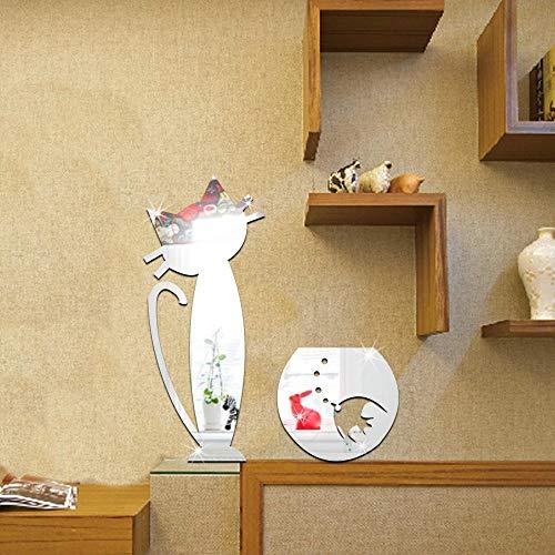 etiqueta pared decoración Pared Estilode Pared - Etiquetas engomadas de la pared del espejo estéreo 3D-Plata