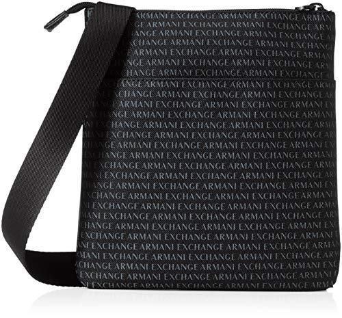 Armani Exchange AX Herren Small Crossbody Bag Kuriertasche, Nero/Schwarz, Einheitsgröße