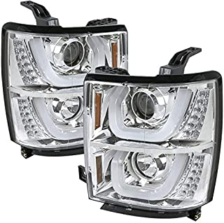 Carpartsinnovate For Chevy 14-15 Silverado 1500 Clear Halo Projector Headlights+LED Signal Lamps