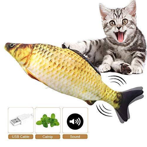 Mroobest Juguete Hierba Gatera, Catnip Fish Toys, Electrico Recargable USB Juguetes Simulación Peluches Pescado, Divertido Interactiva Mascota Pescado Juguetes para Gato/Gatito