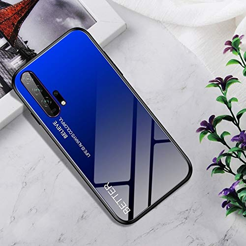 Dmtrab Phone Case para Huawei Honor 20 Pro Caso, Vidrio Templado a Prueba de Golpes + Funda Protectora TPU (Nebulosa Colorida) Tapa de Paquetes (Color : Black Blue)
