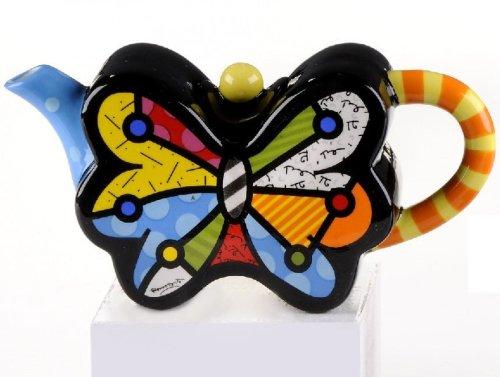 ROMERO BRITTO Mini Teekanne 'Schmetterling' - Pop Art Kunst aus Miami