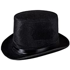 Black Topper Hat - Sold Single. Material: Velour. Size: Fits most adults. Great value for your money. Sure to be winner in your party.