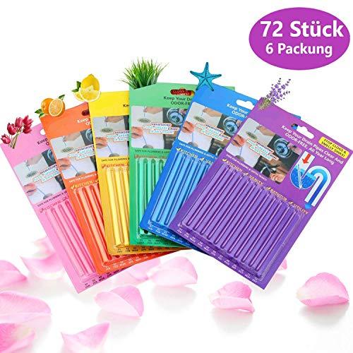 72 Stück Abflussreiniger Drain Sticks - 6er Pack Rohrreiniger Enzymreiniger für verstopfte Rohre in Küche, Bad und Dusche Drain Cleaner