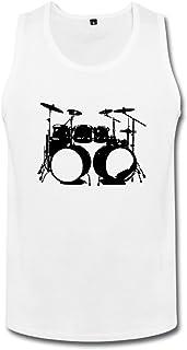 男性 クール ハイ ハット ドラムセット タンクトップ 体に合う White