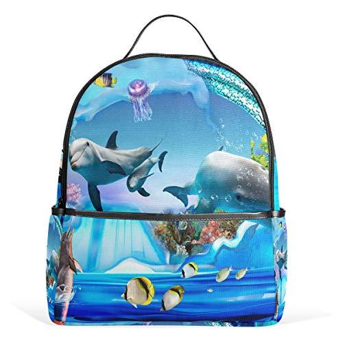 DEZIRO Rucksack Delphin Pinguin Gelee Aquarium Wandern Daypack Reisetasche