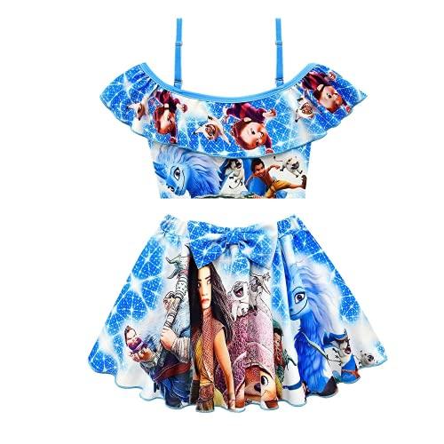 Mqun Raya Girls' Swimsuit Ruffle Short Skirt Off Shoulder Swimsuit 2-Piece Swim Skirt Bikini 3-8years Old Blue