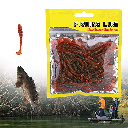 Pangding Wits Baits, 50PCS 5cm Soft Plastic Fishing Lures T-Tail Grub Worm Baits Accesorios para Peces(Rojo)