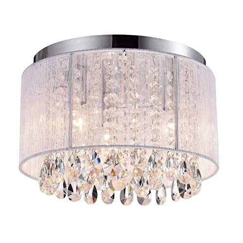 LILIS Chandelier Chandeliers White Chandelier Lighting Mini Flush Mount Chandelier Small Ceiling Chandelier Crystal Ceiling Light 3 Light Flush Mount Light Fixture (Size : 40cm)