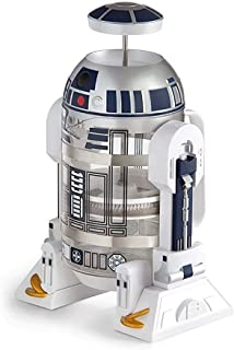 ThinkGeek Star Wars Coffee Press R2D2 Limited Edition 4 Cup French Press - Includes Glass Carafe, Plunger & Filter