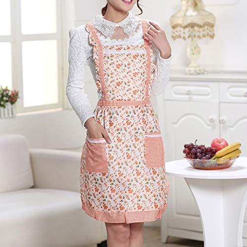 Huien waterdichte kookschort afdrukken prinses schort jurk dikker vrouwen katoenen slab met zakken dames huisbenodigdheden, oranje bloemen