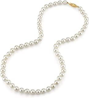 White Japanese Akoya Saltwater Cultured Pearl Necklace for Women in 18 Inch Length with 14K Gold - THE PEARL SOURCE