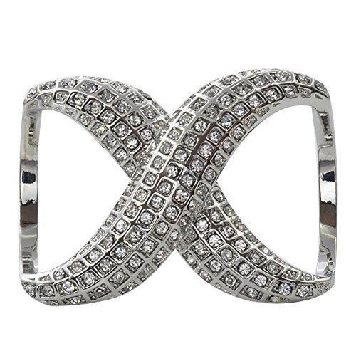 keland La bufanda de seda elegante del diamante del Faux de las mujeres acorta el tenedor de la hebilla del anillo para el banquete de boda (Plata)