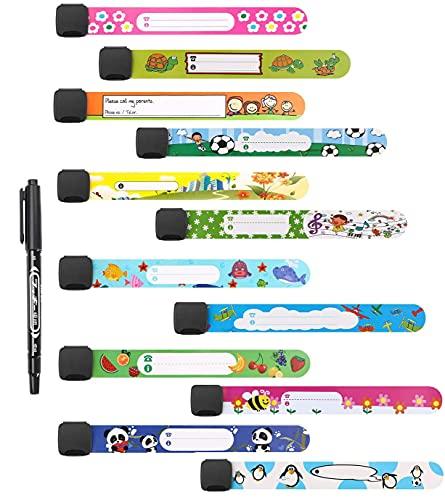 Pulsera Seguridad Anti Perdida,12 PCS Pulsera de Identificación para Niños con 1 Bolígrafo Bandas Anti-perdidas Pulsera de Emergencia para Niños PVC para Niños Niñas Pequeños Bebés