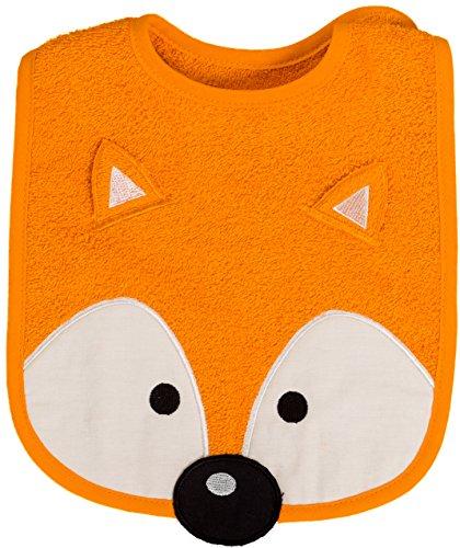 Lätzchen Baby Fuchs, Farbe orange, Größe 24 x 24 cm, Druckknopfverschluss, von Smithy