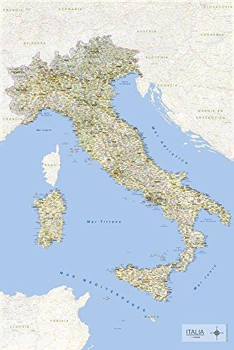 empireposter Carta Geografica Italiana in Formato Maxi 61 X 91,5 cm con Nomi di Comuni e e Informazioni in Lingua Italiana