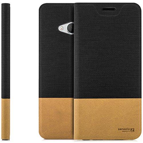 zanasta Designs Tasche HTC U Play Hülle Flip Hülle Slim Schutzhülle Handytasche mit Kartenfach, Standfunktion | Schwarz
