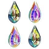Fulushou 4 Stück Kristallglaskugel Kristalle zum Aufhängen, Kristall Kugel Sonnenfänger Regenbogenkristall Prisma Anhänger für Fesnter Haus Prisma Deko, 2 Stile