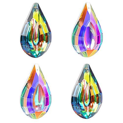 4 Pcs K9 Cristal de Prisme Coloré Attrape-Soleil Suspendu Capteur de Soleil Pendentif Lustre Cristal de Prisme de Goutte Feng Shui Cristal Arc-en-Soleil pour Décoration de Jardin Fenêtre Maison Fête