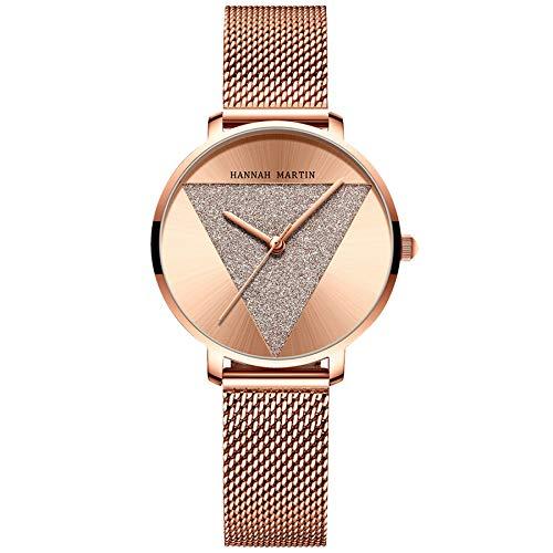 Reloj De Pulsera De Cuarzo JaponéS para Mujer, DiseñO De Cielo Estrellado AnalóGico Resistente Al Agua Acero Inoxidable (Rose Gold)
