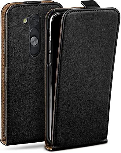 moex Flip Hülle für LG L Fino Hülle klappbar, 360 Grad R&um Komplett-Schutz, Klapphülle aus Vegan Leder, Handytasche mit vertikaler Klappe, magnetisch - Schwarz