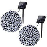 Joomer 2 Pack Solar String Lights 72ft 200 LED 8 Modes Outdoor String Lights Waterproof Fairy Lights for Garden, Patio, Fence, Balcony, Outdoors (White)