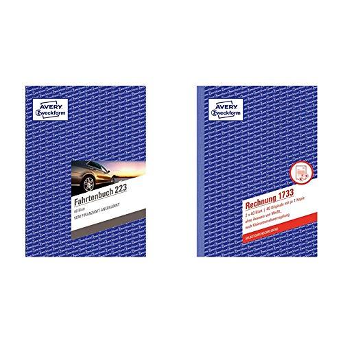 AVERY Zweckform 223 Fahrtenbuch (für PKW, A5, auf 80 Seiten für insgesamt 858 Fahrten) & 1733 Rechnung für Kleinunternehmer (A5, 2x40 Blatt, selbstdurchschreibend mit farbigem Durchschlag) weiß/gelb