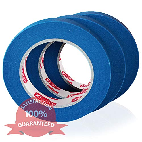 XFasten Professional Blue Painters Tape, Multi-Use, 3/4 Inches x 60 Yards (3-Pack) - Produces Sharp Lines and Residue-Free Artisan Grade Clean Release Wall Trim Tape