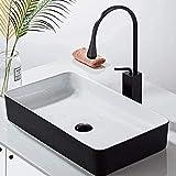 Grifo de lavabo latón negro recién llegado baño alto grifo cuadrado giratorio de 360 grados para grifo de cocina o lavabo