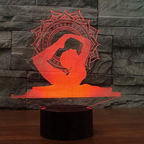 Luz de la noche regalo niño cambiable estado de ánimo Nightlights colorido visual LED 3D Yoga bailarín lámpara Iluminación USB Luminar lámpara de mesa regalos de Navidad decoración dormitorio